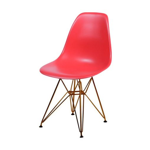 Cadeira de Jantar Eames Eiffel Vermelha Base Cobre 1102CO Ór