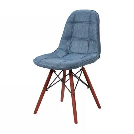 Cadeira de Jantar Eames Wood Azul em Linho 1114 Or Design
