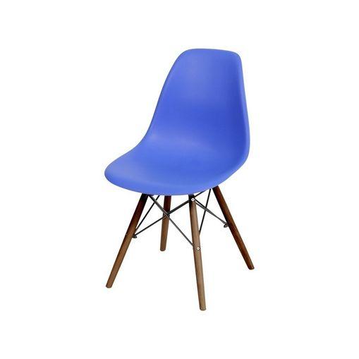 Cadeira de Jantar Eames Wood Azul Escuro Base Escura 1102BE Ór