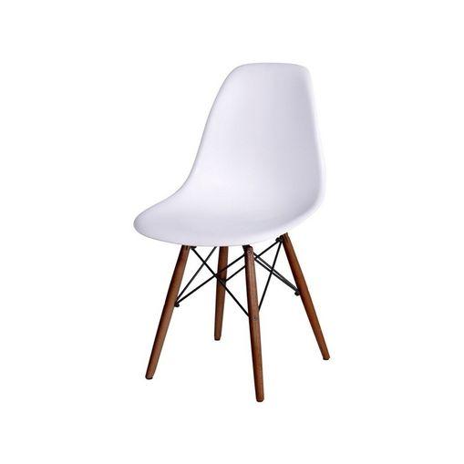 Cadeira de Jantar Eames Wood Branca Base Escura 1102BE Ór