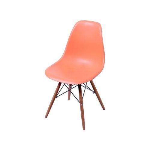 Cadeira de Jantar Eames Wood Laranja Base Escura 1102BE Ór