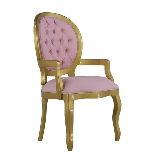 Cadeira de Jantar Medalhão Lisa com Braço - Wood Prime 14684 Liso