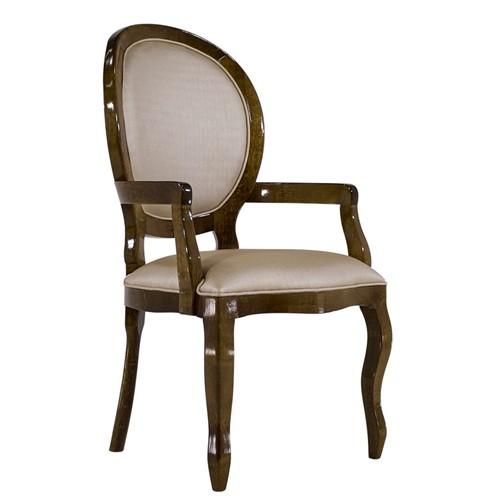 Cadeira de Jantar Medalhão Lisa com Braço - Wood Prime 14692 Liso