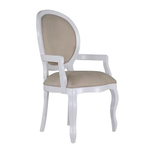 Cadeira de Jantar Medalhão Lisa com Braço - Wood Prime 14815 Liso