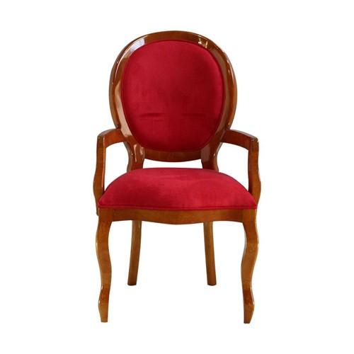 Cadeira de Jantar Medalhão Lisa com Braço - Wood Prime 15551 Liso