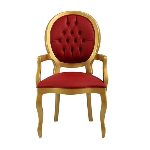 Cadeira de Jantar Medalhão Lisa com Braço - Wood Prime 15563 Liso
