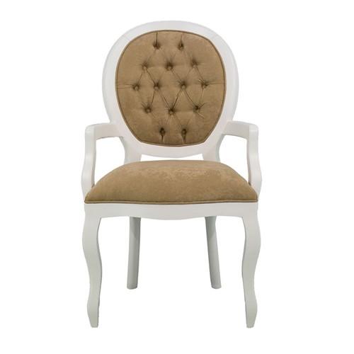 Cadeira de Jantar Medalhão Lisa com Braço - Wood Prime 15567 Liso