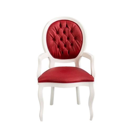 Cadeira de Jantar Medalhão Lisa com Braço - Wood Prime 15571 Liso