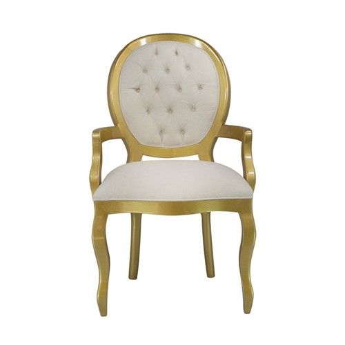 Cadeira de Jantar Medalhão Lisa com Braço - Wood Prime 15579 Liso
