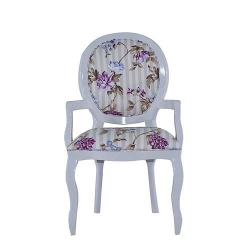 Cadeira de Jantar Medalhão Lisa com Braço - Wood Prime 25402 Liso