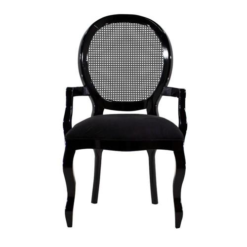 Cadeira de Jantar Medalhão Lisa com Braço - Wood Prime 25406 Liso