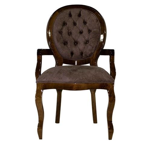 Cadeira de Jantar Medalhão Lisa com Braço - Wood Prime 25410 Liso