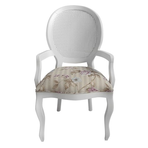 Cadeira de Jantar Medalhão Lisa com Braço - Wood Prime 868026 Liso