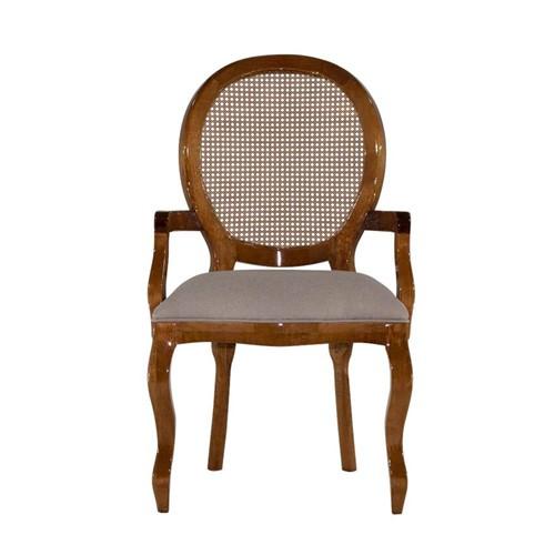 Cadeira de Jantar Medalhão Lisa com Braço - Wood Prime 898206 Liso