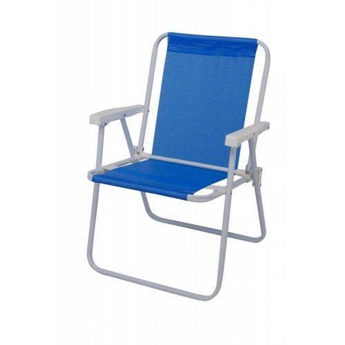 Cadeira de Praia Alta Aço Sannet Mor - Azul