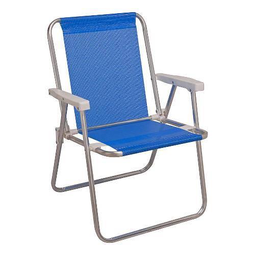 Cadeira de Praia Alta Alumínio Sannet Azul