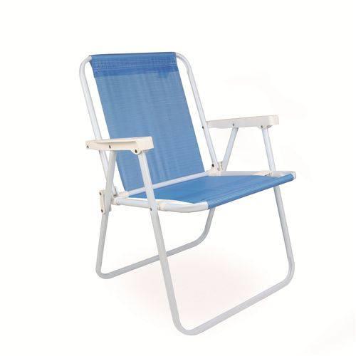 Cadeira de Praia Alta de Aço Sannet Azul 2283 Mor