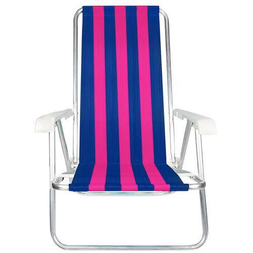 Cadeira de Praia MOR 2103 Dobrável 4 Posições Azul e Rosa