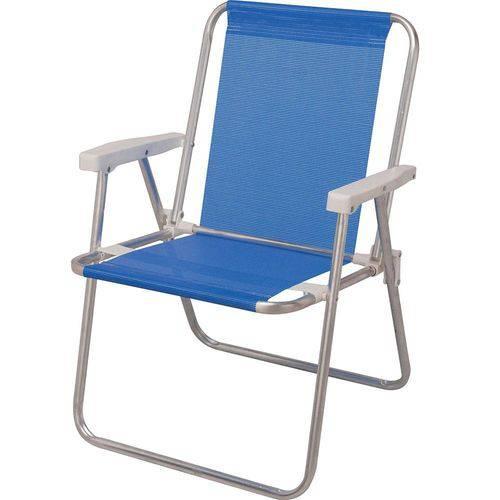 Cadeira de Praia Sannet Alta de Aluminio Azul Mor