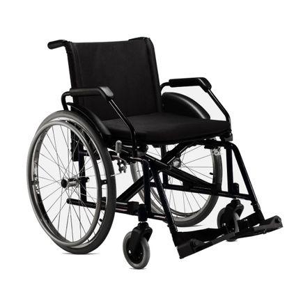 Cadeira de Rodas em Aço - Ortopedia Jaguaribe - Poty - Preta