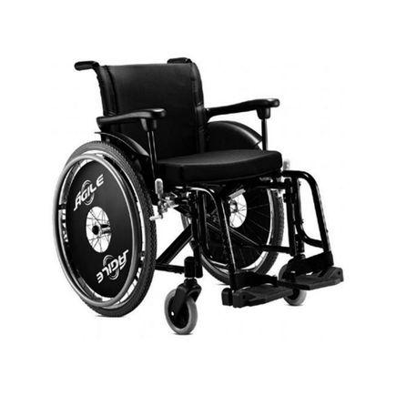 Cadeira de Rodas em Alumínio - Ortopedia Jaguaribe - Ágile - Preta 42