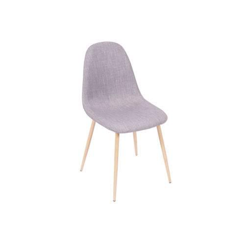 Cadeira Design Linho Sala de Jantar Base Cinza