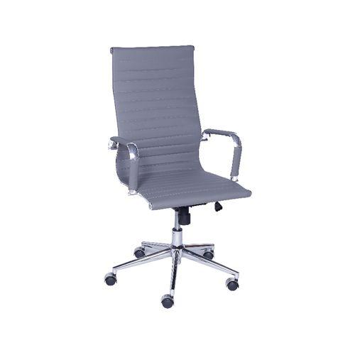 Cadeira Diretor Esteirinha Office - Couro Sintético Cinza Cinza