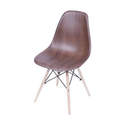 Cadeira Dkr 1102 Pé de Madeira Assento Madeira Escura