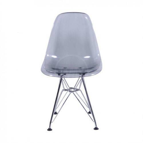 Cadeira Dkr Charles Eames Fumê - Policarbonato Alto Brilho com Base Aço Cromado - Tommy Design