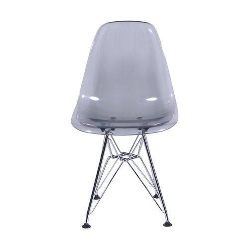Cadeira Dkr Eames Policarbonato Base Eiffel Ferro Fume Inovakasa