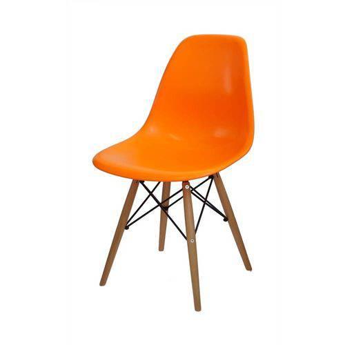 Cadeira Dkr em Polipropileno com Base de Madeira Mobitaly - Laranja