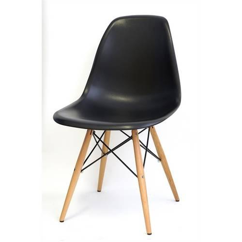 Cadeira Dkr em Polipropileno com Base de Madeira Mobitaly - Preta