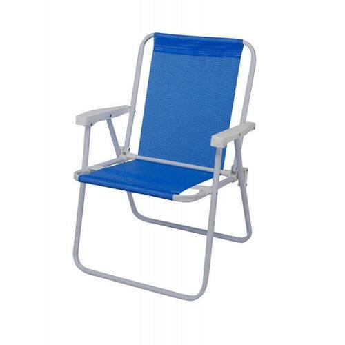Cadeira Dobrável Alta Sannet Aço 2283 Azul - Mor