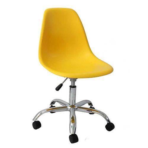 Cadeira Eames Angeles Amarela Pp com Rodizios Or Design 1102 - Amarelo