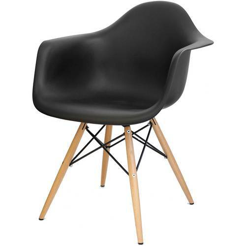 Cadeira Eames Daw com Braço Base Eiffel Madeira Preto
