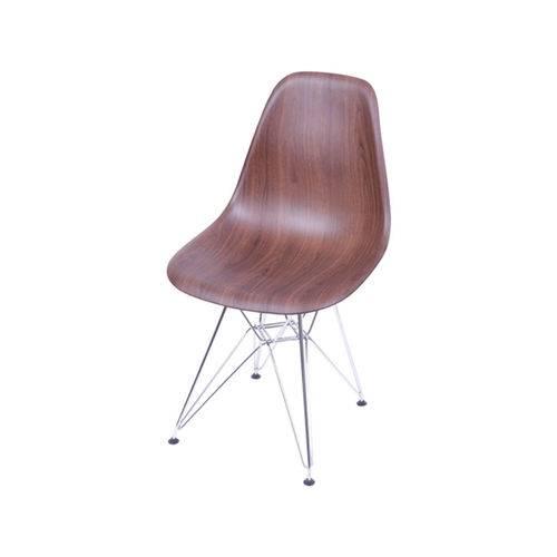 Cadeira Eames Dkr Base Cromada - Madeira Escura