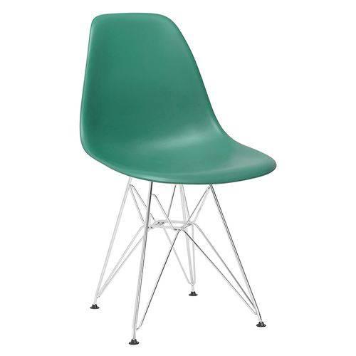 Cadeira Eames DKR - Eiffel - Verde Escuro - Base Cromada