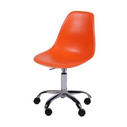 Cadeira Eames Dkr Rodízio Laranja Or Design