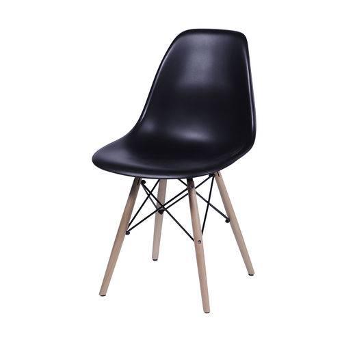 Cadeira Eames Dsw Base Madeira Assento Preta