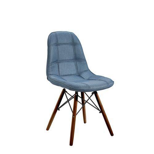 Cadeira Eames Linho Cozinha Sala de Jantar Base Preto e Azul