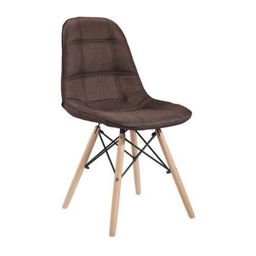 Cadeira Eames Marrom em Linho com Base de Madeira 1114 Or Design