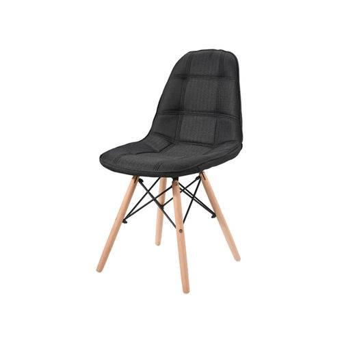 Cadeira Eames Preta em Linho com Base em Madeira 1114 Or Design