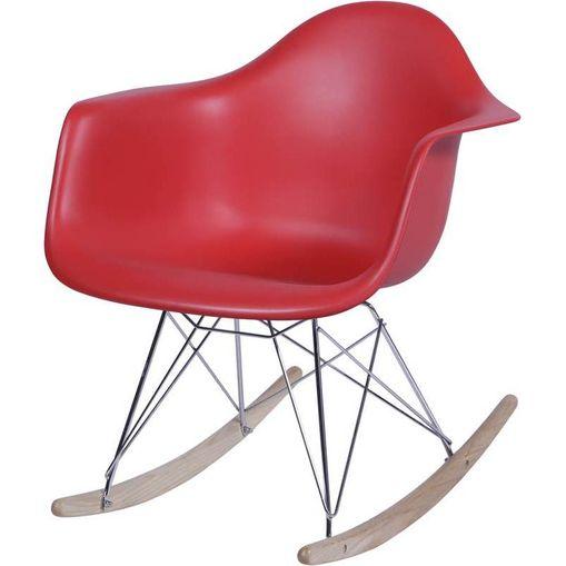 Cadeira Eames Wood Balanço Vermelha com Braços OR Design 1122