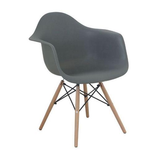 Cadeira Eames Wood DAR com Braço Cinza 1120 Or Design