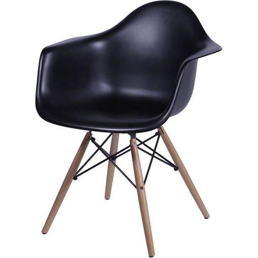 Cadeira Eames Wood Preta com Braços OR Design 1120
