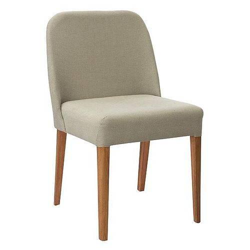 Cadeira Ecco Estofada Tecido Linho Nude
