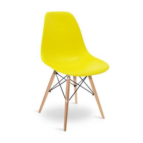 Cadeira Eiffel Eames Base Madeira Sala de Jantar Amarela - D'rossi