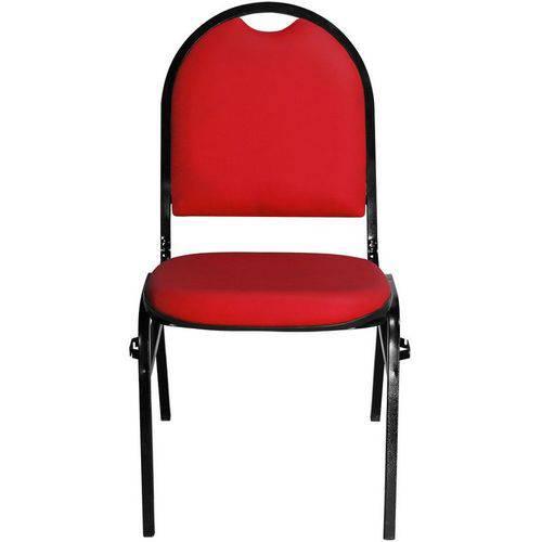 Cadeira Empilhável Fixa em Couro Ecológico Vermelho com Encaixe para Virar Longarina Essencial Hot -
