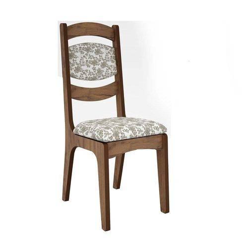 Cadeira Estofada 100% Mdf Ca27 Dalla Costa - Nobre/floral Claro
