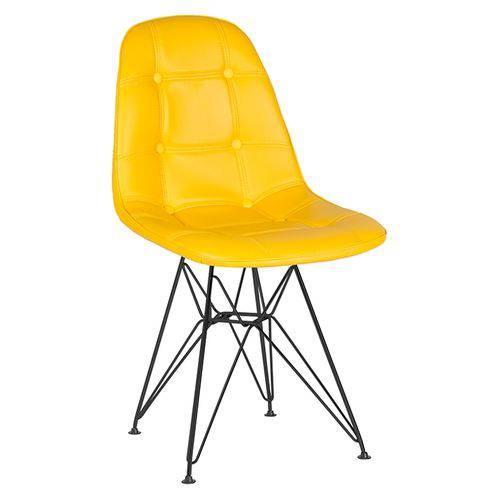 Cadeira Estofada Botonê - Amarelo - Metal Preto